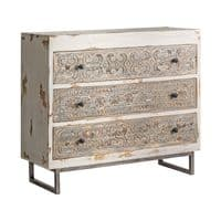 Jayleen 110cm White Distressed Chest Of Drawers